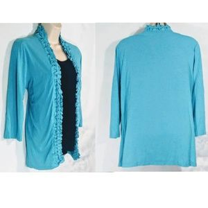COLDWATER CREEK Woman's Large Blue Cardigan